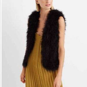 Club Monaco Violet mahogany marabou feather vest M